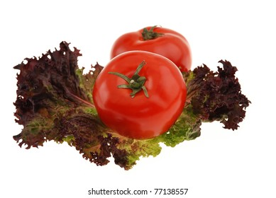 Fresh tomatoes, red leaf lettuce ,  isolated on white background