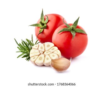 Fresh tomatoes with rosemary and garlic isolated on white background. Tomatoes with spices.