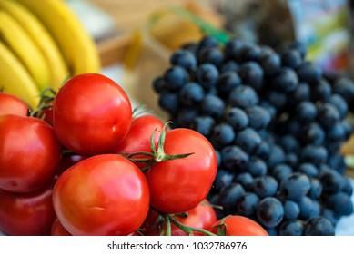 Fresh tomatoes for slae at market