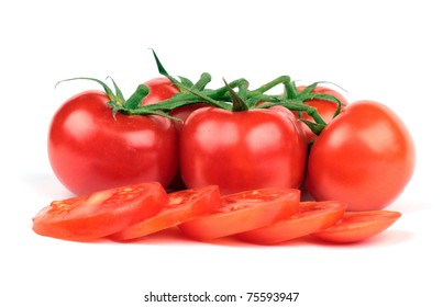 Fresh tomatoes and  tomatoes slices isolated on white background