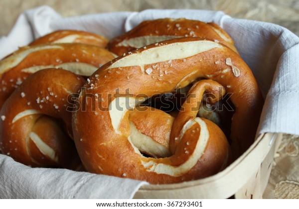 Fresh traditional Bavarian Pretzels(German Bretzel, Brezl, Breze