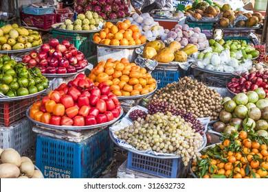 A lot of fresh, tropical fruits, at a market, bazaar in Phu quoc, Vietnam