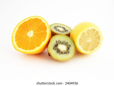 The fresh tropical fruits: Orange, lemon and kiwi
