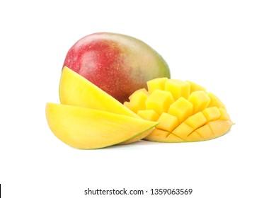 Fresh tropical mangoes isolated on white background