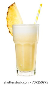 Fresh tropical yellow pineapple smoothie in highball with yellow straw decorated with slice of pineapple, isolated on white background. non-alcoholic cocktail