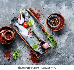 Fresh trout with spices and seasonings.Healthy food.