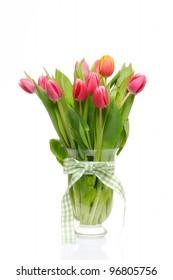 fresh tulips isolated on white background