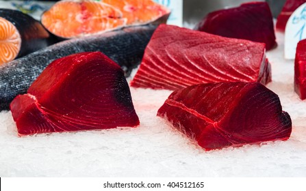 fresh tuna filet on display