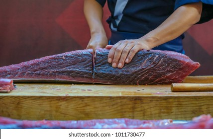 Fresh Tuna fish cut by professional Japanese chef. Tuna can be a good source of omega - 3 fatty acids.