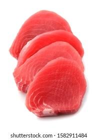Fresh tuna. Fish steak on a white background .