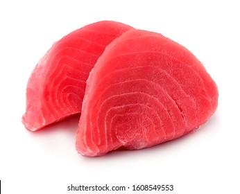 Fresh tuna. Fish steak on a white backgrounds.