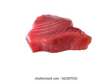 Fresh Tuna Fish Steak on a white background - fresh slice