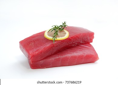 Fresh Tuna Fish Steak on a white background