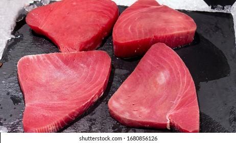 fresh tuna steak chilled in a shop window