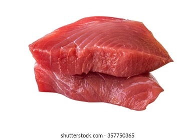 Fresh Tuna Steak on a white background - fresh slices