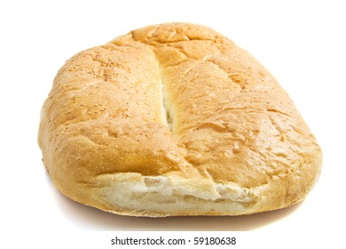 Fresh turkish big bread isolated over white