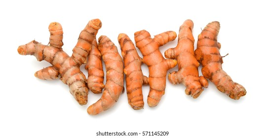 Fresh turmeric roots isolated on white background