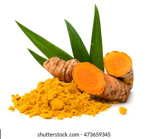 Fresh turmeric slices isolated on white background
