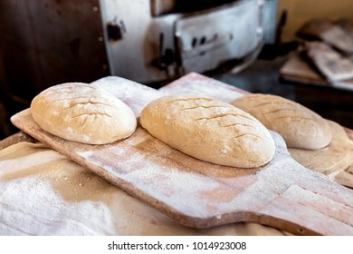 Fresh uncooked organic bread with white flour on it on a wooden peel