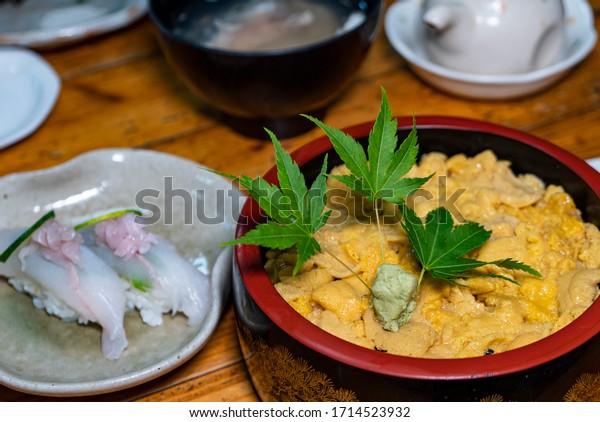 Fresh Uni sushi or Uni rice