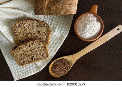 Fresh unleavened homemade bread of whole grain wheat flour with flax seeds