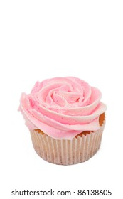 Fresh vanilla cupcake with rose buttercream icing on white background