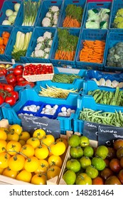 Fresh vegetable display at a greengrocer's shop in Europe with price tags in euros, no brand names
