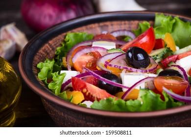 Fresh vegetable greek salad, close up