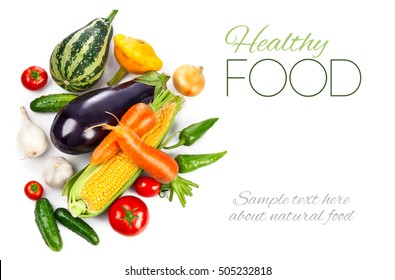 Fresh vegetable with green leaves and herbs. Healthy eating. Vegetables copyspace. Ripe vegetables Isolated on white background
