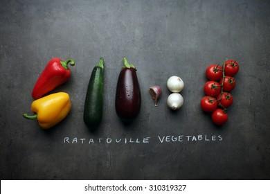 Fresh vegetable ingredients for Ratatouille