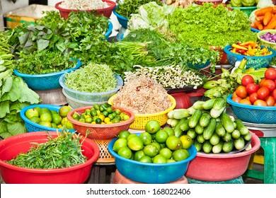 Fresh vegetable on street market in Ho Chi Minh, Vietnam.