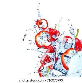 Fresh vegetable, pepper falling in water splash, isolated on white background