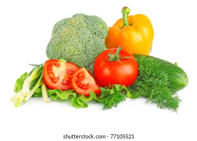 fresh vegetable pepper, tomato, cucumber, onion, cabbage on white background
