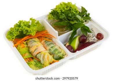 fresh vegetable roll with side dish isolation
