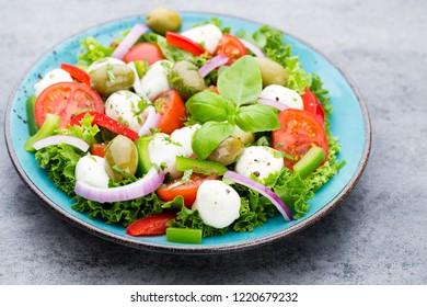 Fresh vegetable salad. Caprese. Caprese salad. Italian salad. Mediterranean salad. Italian cuisine.