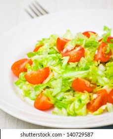 Fresh vegetable salad with cherry tomatoes and cabbage