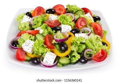 fresh vegetable salad isolated on white background