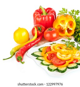 fresh vegetable and salad isolated on white background, healthy food