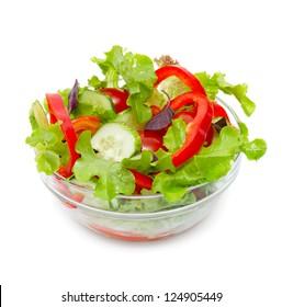 Fresh vegetable salad isolated on white