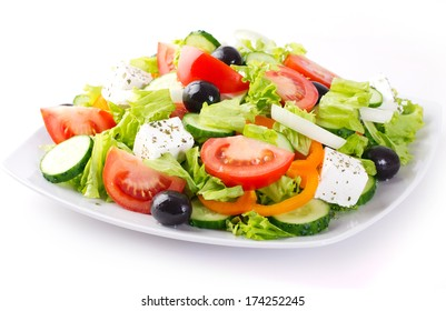fresh vegetable salad isolated on white background