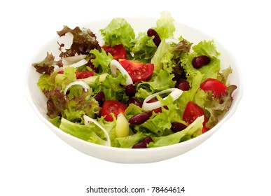 fresh vegetable salad of lettuce, tomato and beans