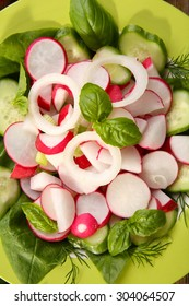 Fresh vegetable salad on plate close up