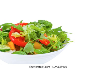 Fresh vegetable salad  in plate, isolated