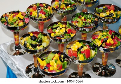 Fresh vegetable salads served in glass