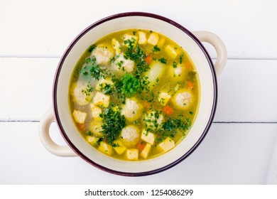 fresh vegetable soup on the feast day as a top view