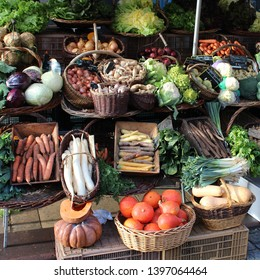Fresh vegetable stall in a farmer's market