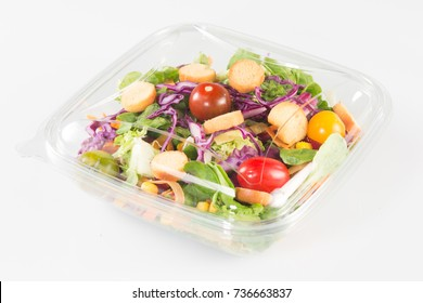 fresh vegetable Takeaway salad on white background
