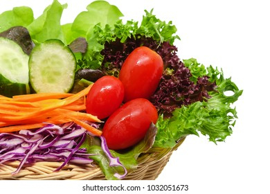 Fresh vegetable in the wicker basket on white background for diet healthy food concept