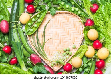 Fresh vegetables background heart shape copy space.Healthy clean eating, dieting, love organic vegetables concept.