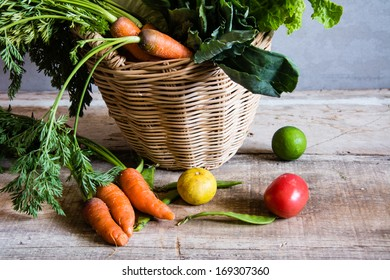 fresh vegetables bunch on wood